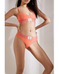 Calvin Klein - Pink Monogram Logo Peach Bikini Knickers - Womens S - Lyst
