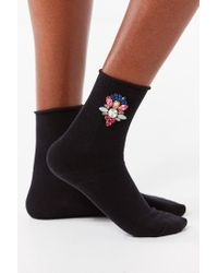 Urban Outfitters - Black Jeweled Crew Socks - Lyst
