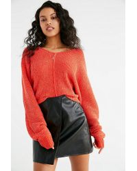 Urban Outfitters - Red Uo Oversized Chenille V-neck Sweater - Lyst