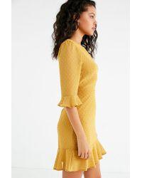 Urban Outfitters - Yellow Uo Swiss Dot Ruffle Hem Mini Dress - Lyst