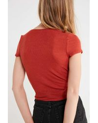 Out From Under - Red Florence Wrap Cropped Top - Lyst
