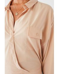 Urban Outfitters - Natural Uo Celeste Pocket Surplice Top - Lyst