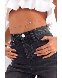 Urban Outfitters - Metallic Nicola Rhinestone Belly Body Chain - Lyst