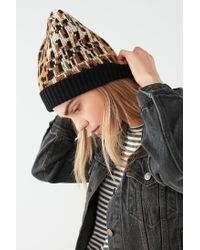Urban Outfitters - Multicolor Graphic Leopard Intarsia Beanie - Lyst