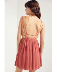 Ecote - Brown Strappy Surplice Fit + Flare Dress - Lyst