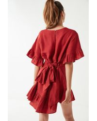 Urban Outfitters - Red Uo Suddenly Spring Linen Ruffle Tie Dress - Lyst