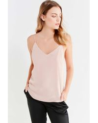 Silence + Noise - Pink Sky Satin Plunging Cami - Lyst