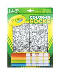 Living Royal Multicolor Flowers Color-in Socks