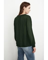 Velvet By Graham & Spencer | Green Samantha Rayon Challis Peasant Tie Top | Lyst