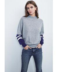 Velvet By Graham & Spencer - Gray Lilian Mock Neck Cashmere Sweater - Lyst