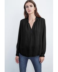 Velvet By Graham & Spencer - Black Pila Long Sleeve Ruffle Challis Blouse - Lyst