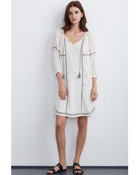 Velvet By Graham & Spencer White Cristal Embroidered Dress