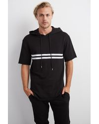 Velvet By Graham & Spencer   Black Frisco Short Sleeve Fleece Hoodie for Men   Lyst