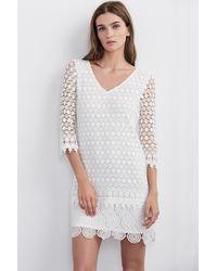 Velvet By Graham & Spencer White Gita Mixed Lace Dress