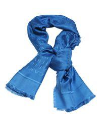 BVLGARI - Blue Silk Stole - Lyst