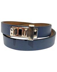 Hermès - Blue Mini Dog Leather Bracelet - Lyst