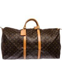 Louis Vuitton | Brown Keepall Cloth 48h Bag | Lyst