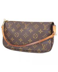 Louis Vuitton - Brown Pre-owned Pochette Cloth Clutch Bag - Lyst