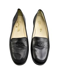 Chanel Black Pre-owned Leather Flats