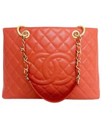 Chanel | Orange Pre-owned Grand Shopping Leather Bag | Lyst