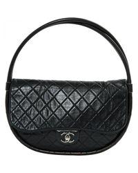 45148f5c4efa65 Lyst - Chanel Pre-owned Hula Hoop Leather Handbag in Black