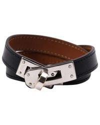 Hermès - Black Kelly Double Tour Leather Bracelet - Lyst