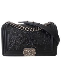 Chanel - Black Pre-owned Boy Leather Handbag - Lyst