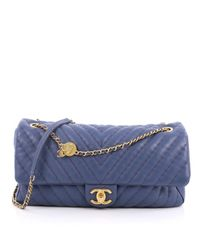 Chanel - Pre-owned Blue Leather Handbag - Lyst