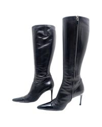 Chanel - Black Pre-owned Leather Boots - Lyst
