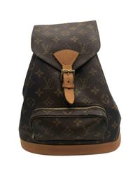 Louis Vuitton - Brown Montsouris Cloth Backpack - Lyst