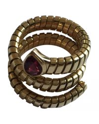 BVLGARI - Pre-owned Vintage Serpenti Pink Yellow Gold Rings - Lyst