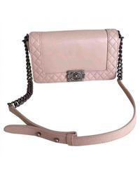 Chanel - Pink Pre-owned Boy Leather Handbag - Lyst