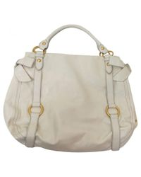 Miu Miu - Natural Pre-owned Vitello Leather Bag - Lyst
