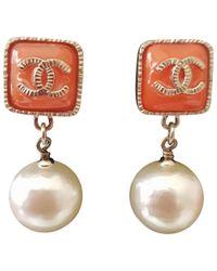 Chanel - Orange Pre-owned Earrings - Lyst