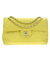 597677d0d766 Chanel Leather Shoulder Bag in Yellow - Lyst