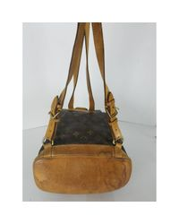 Louis Vuitton - Brown Pre-owned Montsouris Cloth Backpack - Lyst