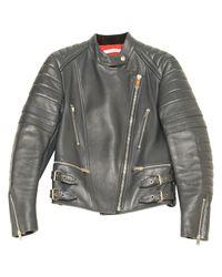 Céline - Gray Pre-owned Leather Biker Jacket for Men - Lyst