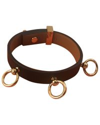 Hermès - Black Pre-owned Mini Dog Leather Bracelet - Lyst