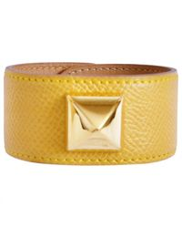 Hermès - Yellow Leather Bracelet - Lyst