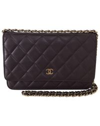 6a03467e511f Lyst - Chanel Pre-owned Wallet On Chain Leather Clutch Bag