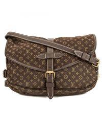 Louis Vuitton Brown Pre-owned Saumur Cloth Crossbody Bag
