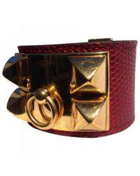 Hermès - Pre-owned Red Exotic Leathers Bracelet Medor - Lyst