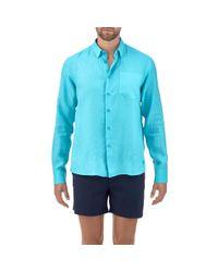 Vilebrequin - Blue Men Linen Shirt Solid for Men - Lyst