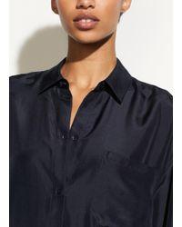 Vince - Blue Silk Shirtdress - Lyst