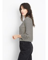 Vince - Black Midi Striped Cropped Tee - Lyst