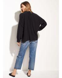 Vince - Black Shirred Silk Blouse - Lyst