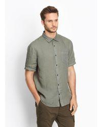 Vince - Green Linen Short Sleeve Button Up for Men - Lyst