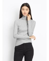 Vince - Gray Rib Knit Turtleneck - Lyst