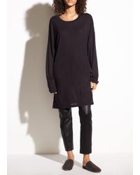 Vince - Black Long Sleeve Marled Drapey Jersey Tunic - Lyst