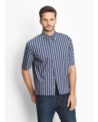 Vince - Blue Narrow Stripe Half Sleeve Button Up for Men - Lyst